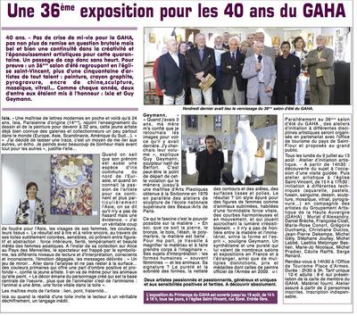 IXIA Artiste - Invitée dhonneur au 36e Salon dété de Saint-Flour La Dépêche dAuvergne Juillet 2013