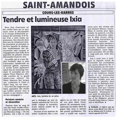IXIA Artiste - Invitée dhonneur du 9e salon de Cours-les-Barres Saint-Amandois, Berry Novembre 2007