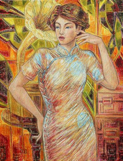 IXIA Artiste - Jeune Beauté au gramophone 50 x 65 cm 2013