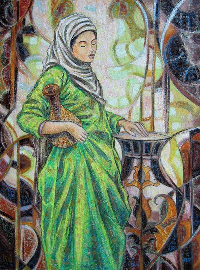 IXIA Artiste - La robe verte 54 x 73 cm 2010