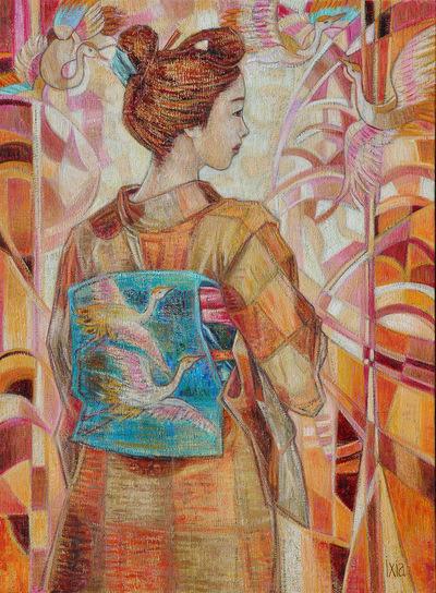 IXIA Artiste - Les grues dAkisa 54 x 73 cm 2013