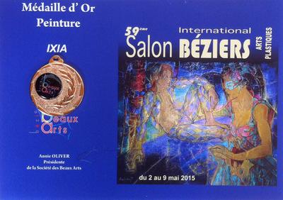 IXIA Artiste - Médaille dOr (section Peinture) au 59e Salon International de Béziers avec trois toiles dAlice, mai 2015