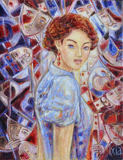 IXIA Artiste - Alice Peinture à lhuile sur toile 27 x 35 cm 2015 VENDU / SOLD NON DISPONIBLE A LA VENTE / NOT AVAILABLE Collection particulière, France 2017