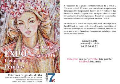 IXIA Artiste - Il était une Femme... Exposition personnelle Mairie du 7e arrdt Février/Mars 2016
