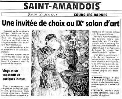 IXIA Artiste - Invitée dhonneur du 9e salon de Cours-les-Barres Saint-Amandois, Berry 2007