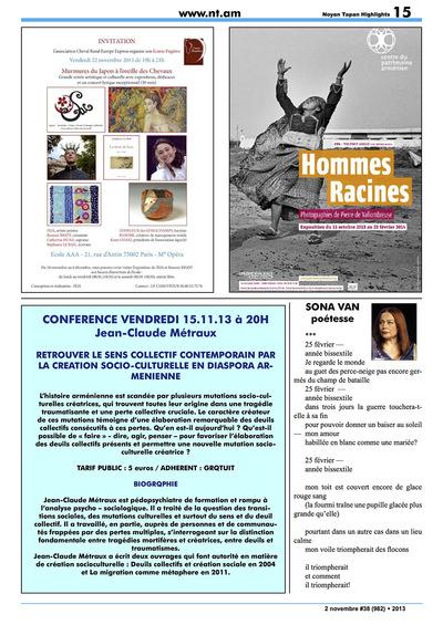 IXIA Artiste - Exposition de groupe Murmures du Japon à loreille des chevaux à lEcole A.A.A., Paris Newsletter France-Arménie 2013