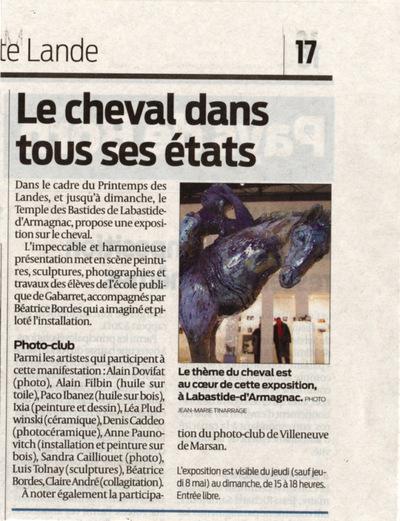 IXIA Artiste - Exposition de groupe Cheval Sud-Ouest 2014