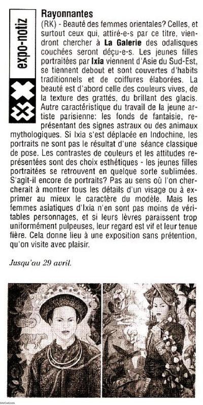 IXIA Artiste - Exposition personnelle Beauté des femmes dOrient Woxx, Luxembourg 2006