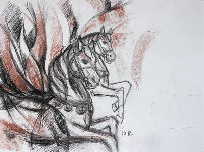 IXIA Artiste - Elan des chevaux 38,5 x 28,5 cm Fusain et sanguine sur papier