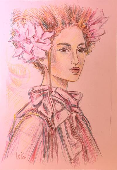 IXIA Artiste - Pink lady 29,7 x 42 cm Crayon et crayons de couleurs sur papier