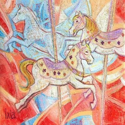 IXIA Artiste - Doux manège 30 x 30 cm Huile sur toile VENDU / SOLD NON DISPONIBLE A LA VENTE / NOT AVAILABLE