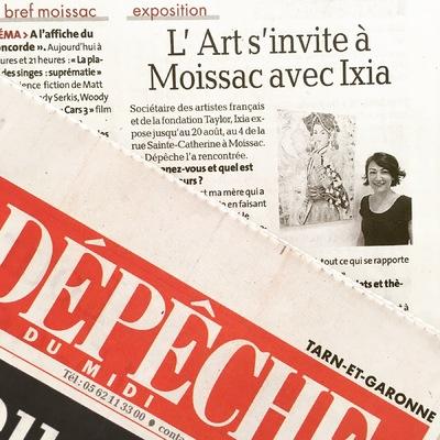IXIA Artiste - Interview dans La dépêche du Midi, lundi 14 aout 2017 dans le cadre de Lart sinvite à Moissac