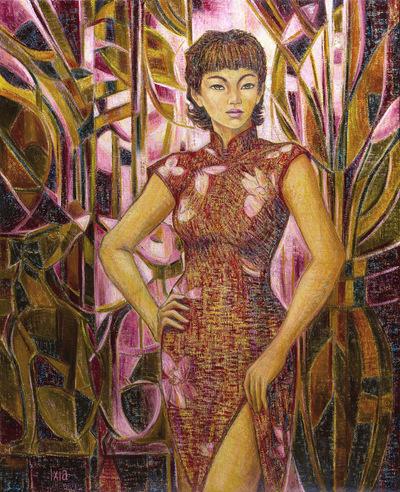 IXIA Artiste - Jeune Beauté aux lévriers 81 x 100 cm 2011 Collection de lartiste