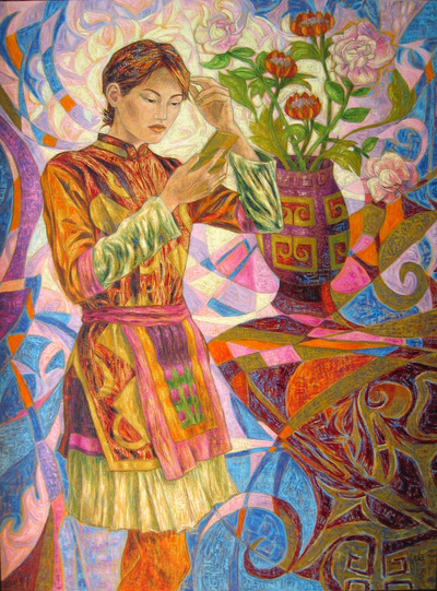IXIA Artiste - Jeune Miao au miroir 97 x 130 cm 2008