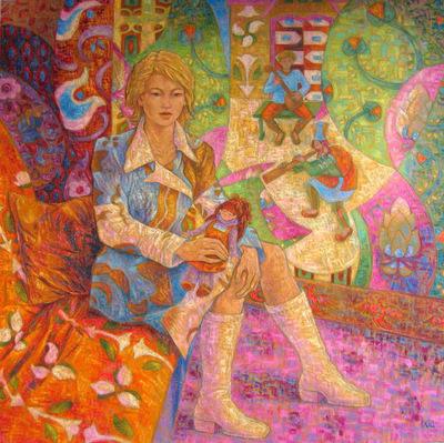 IXIA Artiste - Jeune Russe à la poupée 100 x 100 cm 2009