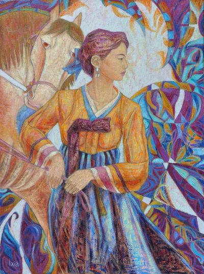 IXIA Artiste - Le cheval dHanel Mee 60 x 81 cm Huile sur toile