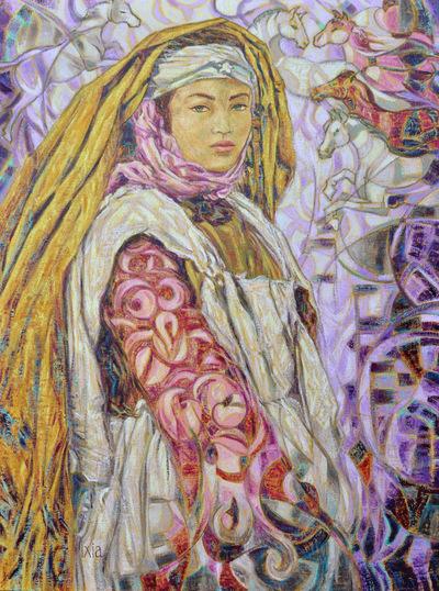 IXIA Artiste - Jeune Mauresque aux chevaux 60 x 81 cm Huile sur toile VENDU / SOLD NON DISPONIBLE / NOT AVAILABLE