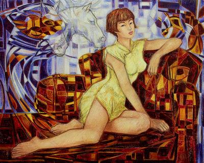 IXIA Artiste - Jeune Beauté aux chevaux 100 x 81 cm Huile sur toile VENDU / SOLD NON DISPONIBLE / NOT AVAILABLE