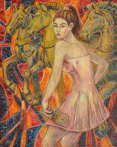 IXIA Artiste - Les chevaux de Saint-Marc 65 x 81 cm Huile sur toile