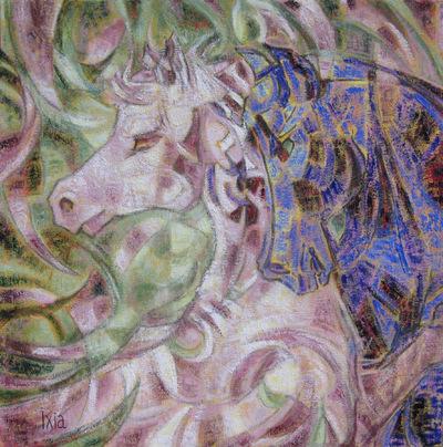 IXIA Artiste - Regards 50 x 50 cm Huile sur toile 2010