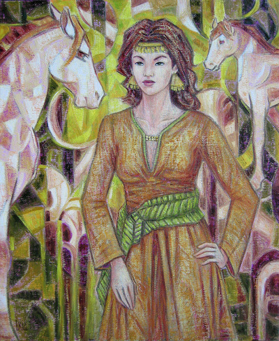 IXIA Artiste - Les chevaux de Dalia 60 x 73 cm Huile sur toile