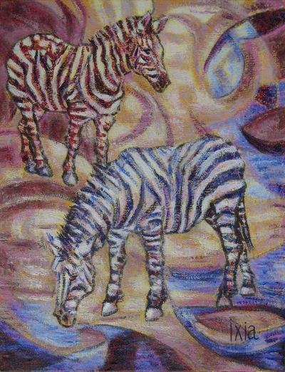 IXIA Artiste - Zèbres 27 x 35 cm Huile sur toile VENDU / SOLD NON DISPONIBLE / NOT AVAILABLE
