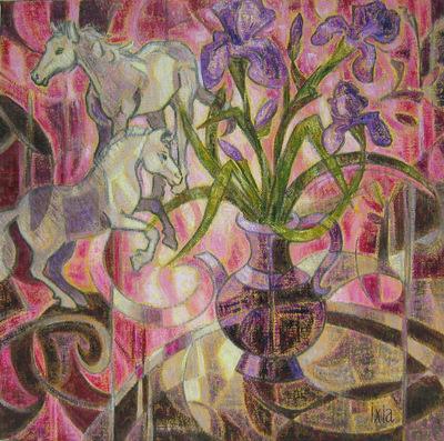 IXIA Artiste - iris et chevaux 50 x 50 cm Huile sur toile VENDU / SOLD NON DISPONIBLE / NOT AVAILABLE