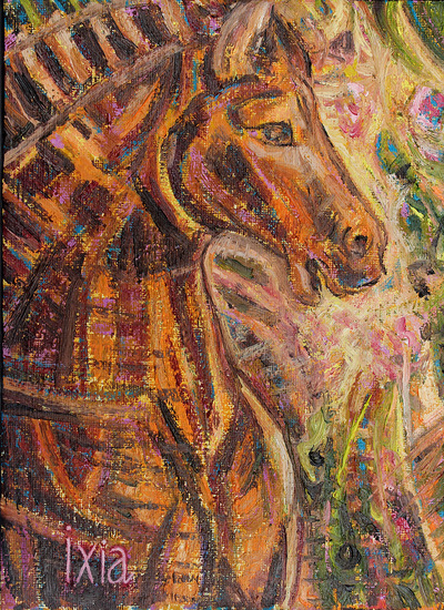IXIA Artiste - Douceur de feu 16 x 22 cm Huile sur toile VENDU / SOLD NON DISPONIBLE / NOT AVAILABLE