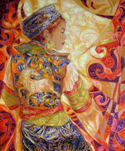 IXIA Artiste - Linh Thu au cheval 60 x 73 cm Huile sur toile VENDU / SOLD NON DISPONIBLE / NOT AVAILABLE