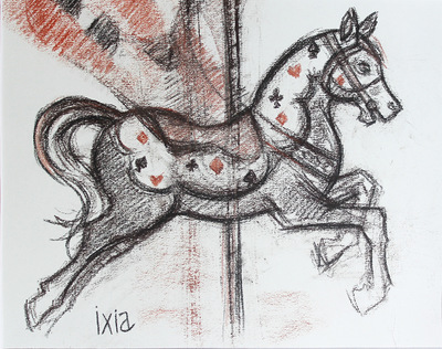 IXIA Artiste - Cheval de manège 29,5 x 23,5 cm Fusain et sanguine sur papier VENDU / SOLD NON DISPONIBLE / NOT AVAILABLE