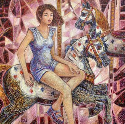 IXIA Artiste - Manège 80 x 80 cm Huile sur toile VENDU / SOLD NON DISPONIBLE / NOT AVAILABLE