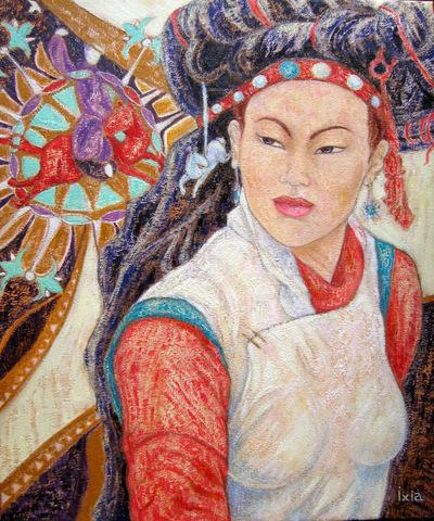 IXIA Artiste - Jeune Zang au cheval rouge 46 x 55 cm Huile sur toile VENDU / SOLD NON DISPONIBLE / NOT AVAILABLE