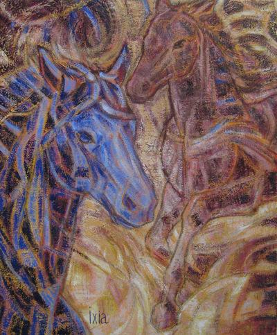 IXIA Artiste - Deux chevaux 38 x 46 cm Huile sur toile VENDU / SOLD NON DISPONIBLE / NOT AVAILABLE