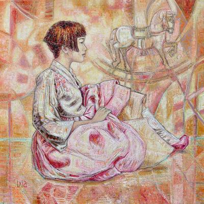 IXIA Artiste - Cheval à bascule 80 x 80 cm Huile sur toile VENDU / SOLD NON DISPONIBLE / NOT AVAILABLE
