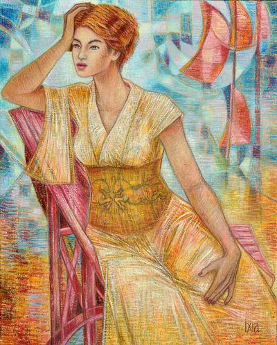 IXIA Artiste - Tamara ou Les voiliers roses 65 x 81 cm Huile sur toile