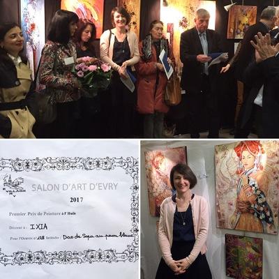 IXIA Artiste - IXIA remporte le Premier prix de peinture à lhuile pour son oeuvre Dao de Sapa au paon blanc 14e Salon dArt dEvry Invitée dhonneur : Françoise HANNEQUIN. Membre du Jury : Alain JAMET, peintre de lArmée. 11 Mars 2017