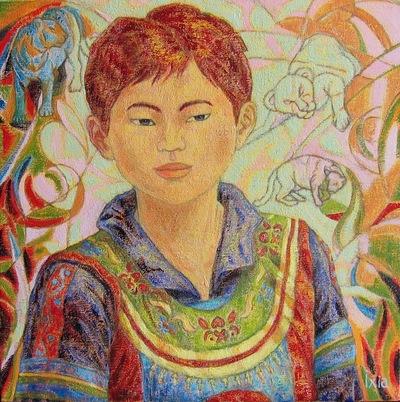 IXIA Artiste - Jeune Miao aux félins 40 x 40 cm 2005