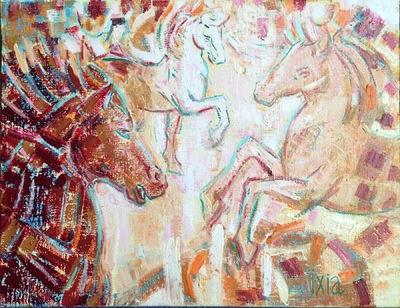 IXIA Artiste - Variation équestre en rouge 35 x 27 cm Huile sur toile 2018