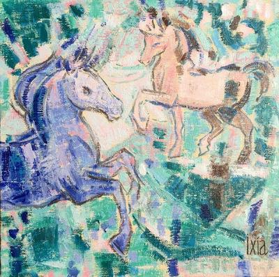 IXIA Artiste - Variation équestre en bleu 30 x 30 cm Huile sur toile 2018