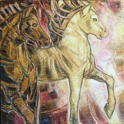 IXIA Artiste - Deux chevaux 60 x 60 cm Huile sur toile VENDU / SOLD NON DISPONIBLE / NOT AVAILABLE