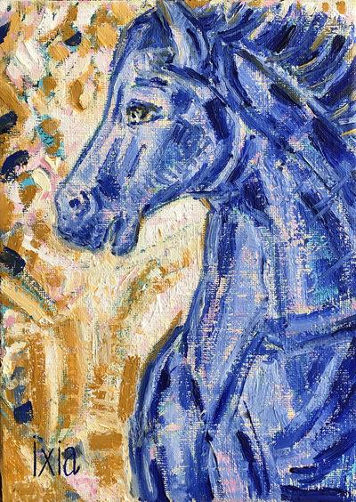 IXIA Artiste - Jument bleue 16 x 22 cm Huile sur toile VENDU / SOLD NON DISPONIBLE / NOT AVAILABLE