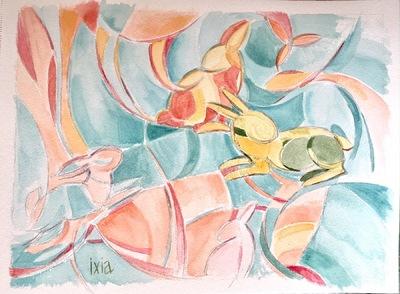 IXIA Artiste - Un monde de lapins 34 x 25 cm Aquarelle