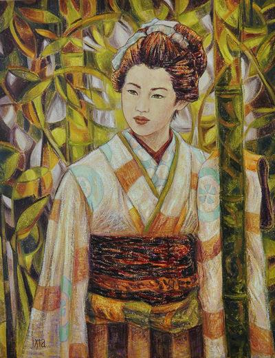 IXIA Artiste - Dans la forêt de bambous 50 x 65 cm 2010