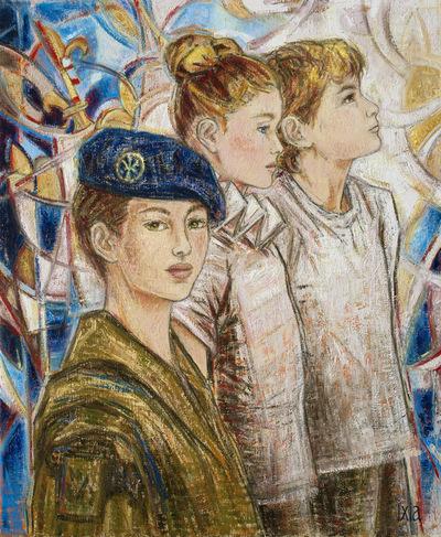 IXIA Artiste - Fluctuat nec mergitur 60 x 73 cm 2017 Thème imposé du concours du XXe Salon des peintres de larmée : Le soldat dans la ville