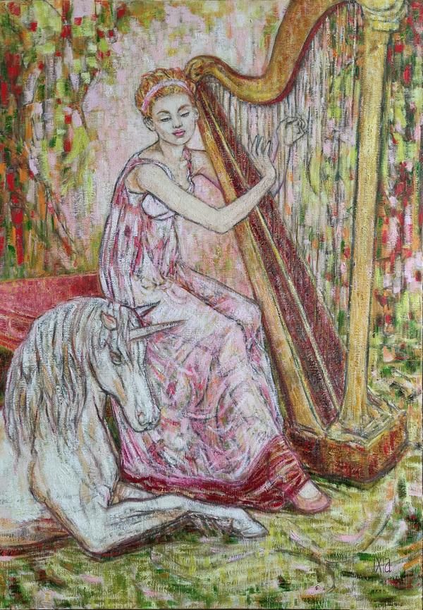 IXIA Artiste - Les Dames à la licorne : louïe 65 x 92 cm HST
