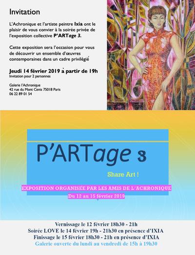 IXIA Artiste - PARTage 3, exposition collective Galerie LAchronique, Paris Février 2019