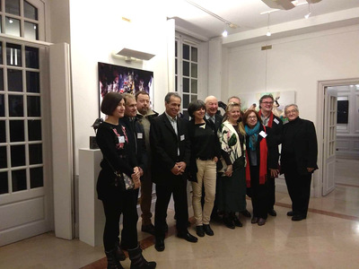 IXIA Artiste - EPONARTS Exposition collective à linitiative de Jean-Marie ZACCHI, invités dhonneur : Frédéric JAGER (sculpteur) et Hocine ZIANI (peintre) Carré des Coignard, Nogent-sur-Marne, soir de vernissage Février 2019