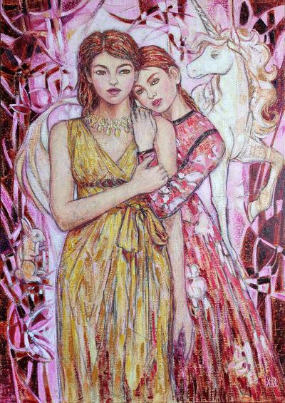 IXIA Artiste - Les Dames à la licorne : le toucher 65 x 92 cm HST