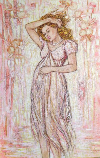 IXIA Artiste - Les Dames à la licorne : le 6e sens 65 x 100 cm HST VENDU // SOLD
