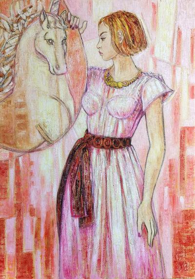 IXIA Artiste - Les Dames à la licorne : la vue 65 x 92 cm HST